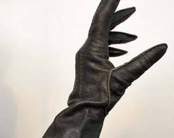 Vintage 60s Handmade Black Leather Gauntlet Gloves with Green Stitching