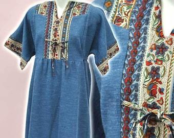 Girl's Vintage 70s Blue Boho Maxi Dress • Chldren's Clothing