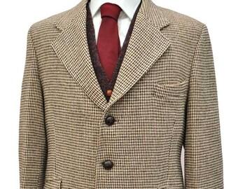 Vintage Brown Harris Tweed Sports Jacket • Gurtex • 122cm