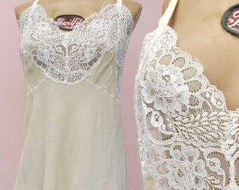 Vintage 60s Cream Silk With Deep Lace Insert Short Slip • Petticoat