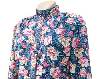 Vintage 80s Pink Rose & Turquoise Secretary Blouse • BNWT Deadstock