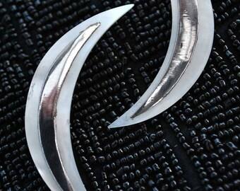 Huge Vintage Silver Mother of Pearl Crescent Moon Earrings • Stud Earrings