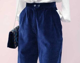 Vintage 70s Blue Velvet Knickerbockers by Laura Ashley • Velvet Breeches