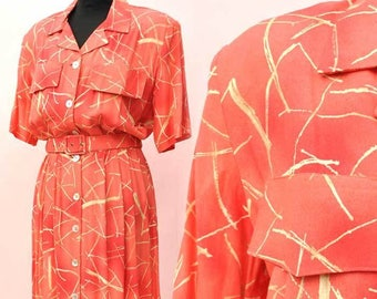 Vintage 1940s Style 80s Coral Orange Shirt Waister Dress • Short Sleeves