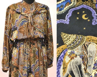 Vintage 70s Mandy Marsh Tea Dress • Shirt Waister • Psychedelic Goddess Pattern