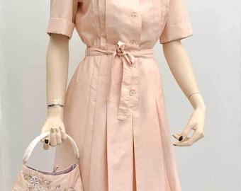 Vintage 60s Shell Pink Silk Shirt Waister Dress • Gérard Pasquier