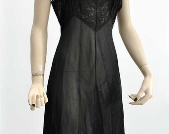 "Vintage 1950s Black Lace and Nylon Full Slip 36"" bust"