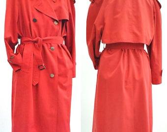 Women's Vintage 80s Aquascutum Red Trenchcoat Raincoat