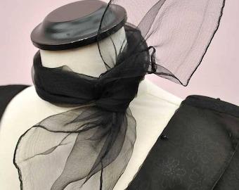 Black Nylon Georgette Chiffon Neck Scarf • Rockabilly • Deadstock