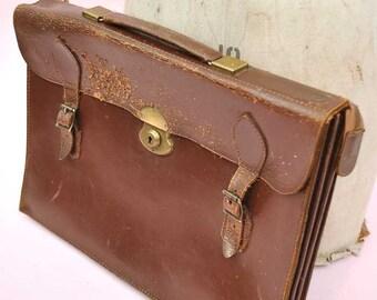 Vintage 50s Leather Briefcase Attache • Satchel • Pakawa • Professor