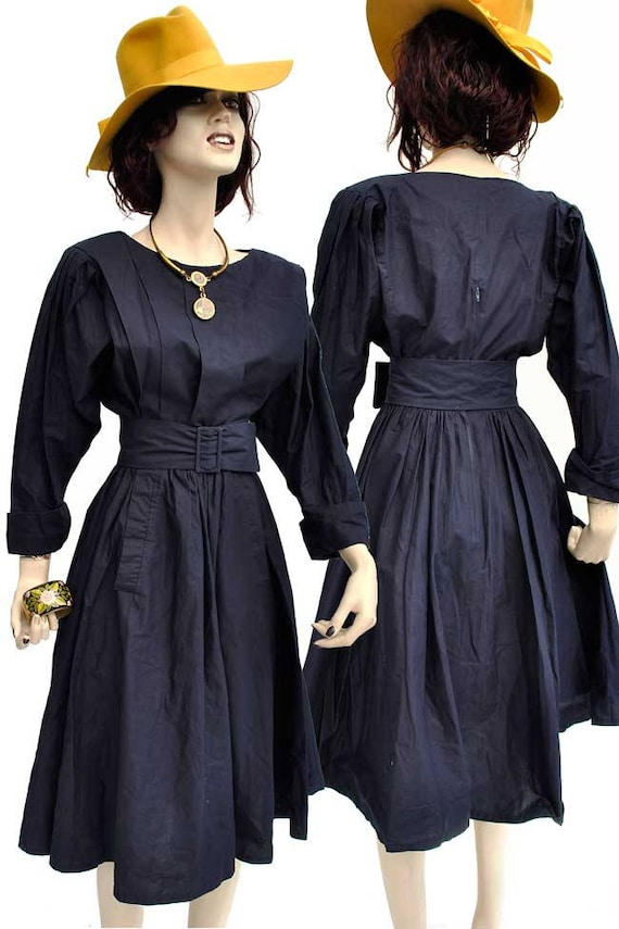 Vintage 80s Navy Blue Droopy & Browns Balloon Slee