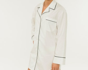 a0b362e60e Women s Night Dress Sleep Shirt - Textured Luxurious Pure White Cotton  Fabric Pajama Dress - Button Down Collar Black Trim - Long Sleeve