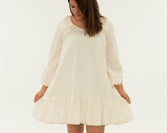 263b400f0a Ladies Pure Cotton Nightgown - Women s Hi-Low Pajama Dress - Light Cream  Sleepwear For Her Misses Sleep Night Dress Feminine Prairie Classic