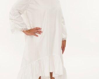 0459b18b9a Ladies Pure White Cotton Nightgown - Women s Hi-Low Pajama Dress - Light  Sleepwear For Her Misses Sleep Night Dress Feminine Prairie Classic