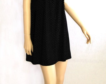 b092e8990d Ladies Nightgown - Women s Polka Dot Pajama Dress - Black   White Feminine  Rosette Trim Sleeveless Sleepwear - Misses Fashion Gift for Her
