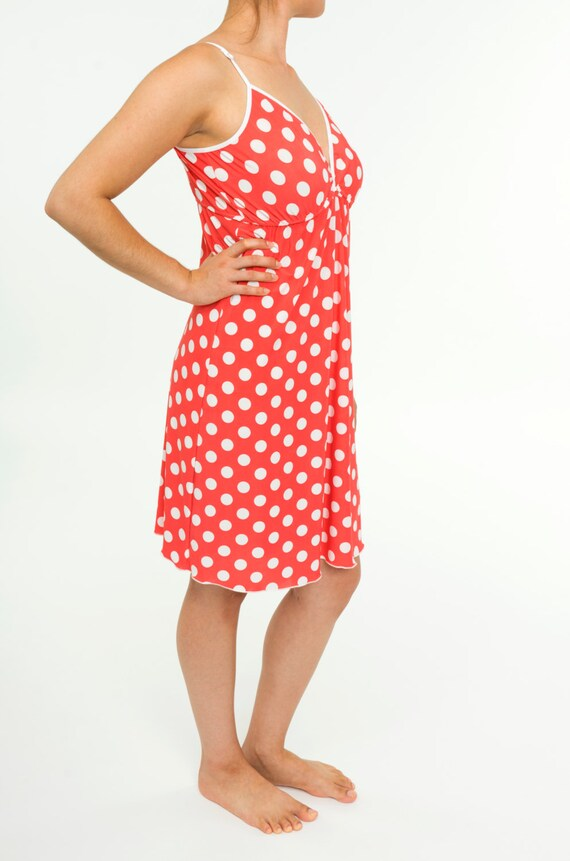 5b09d99fd9 Women s Nightgown Ladies Pink   White Polka Dot Jersey