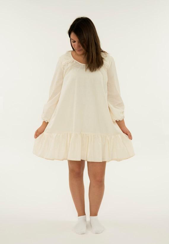 7d1a23046c Ladies Pure Cotton Nightgown Women s Hi-Low Pajama Dress