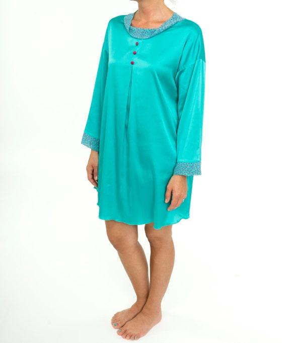 dcc96d341b Women s Satin Nightgown Ladies Pajama Dress Teal Aqua