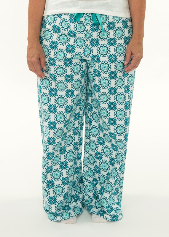 307386a5a5 Women s Turquoise Pattern Pajama Pants Flannel Sleep