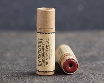 Tinted Vegan Lip Balm 'Crimson Petal' - Plastic Free, Compostable, Recyclable, Zero Waste Vegan Lip Tint