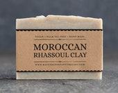 Moroccan Rhassoul Clay Soap | Unscented Vegan Soap - Fragrance Free Handmade Soap. Low Waste Recycled Packaging.