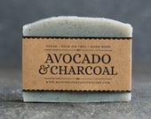 Avocado and Charcoal Soap | Unscented Vegan Soap - Fragrance Free Handmade Soap. Low Waste Recycled Packaging.