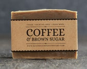 Coffee & Brown Sugar Soap | Unscented Vegan Soap - Fragrance Free Handmade Soap. Low Waste Recycled Packaging.