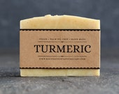 Turmeric Soap | Unscented Vegan Soap - Fragrance Free Handmade Soap. Low Waste Recycled Packaging.