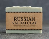 Russian Valdai Clay Soap - Unscented Vegan Soap - Fragrance Free Handmade Soap. Low Waste Recycled Packaging.