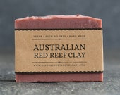 Australian Red Reef Clay Soap | Unscented Vegan Soap - Fragrance Free Handmade Soap. Low Waste Recycled Packaging.