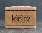 French Pink Clay Soap | Unscented Vegan Soap - Fragrance Free Handmade Soap. Low Waste Recycled Packaging.