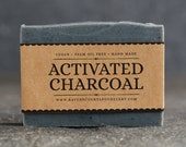 Activated Charcoal Soap | Unscented Vegan Soap - Fragrance Free Handmade Soap. Low Waste Recycled Packaging.