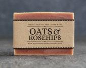 Oats&Rosehips Facial Scrub. Unscented Vegan Soap.