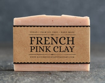 French Pink Clay Soap   Unscented Vegan Soap - Fragrance Free Handmade Soap. Low Waste Recycled Packaging.