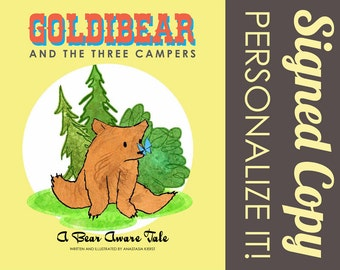 Case of 42 HARDCOVER Signed Children's Books: Goldibear and the Three Campers, A Bear Aware Tale - teacher class gift bulk lot fundraiser