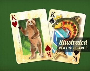 12 DECKS: 6 Mountain Mammals Poker Decks AND 6 Fly Fishing Decks - playing cards