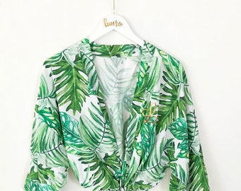 Palm Leaf Robe - Tropical Robes for Bridesmaids - Beach Bachelorette Robes - Banana Leaf Robe - Pool Cover Up - Vacation Gifts (EB3267M)