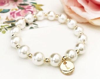 Bridesmaid Bracelet Personalized Bridesmaid Bracelet Pearl Bridesmaid Gift Bracelet for Women (EB3276M) Monogram Bracelet
