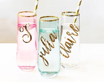 Personalized Bridesmaid Gift Pink Glasses Mint Glasses Gold Rim Glasses Bridesmaid Champagne Flutes Personalized Wine Glasses (EB3210)