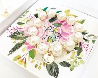 Flower Girl Bracelet Pearl and Gold Flower Girl Proposal Bracelet Personalized Flower Girl Gift (EB3277M) Bracelet for Flower Girl