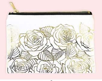 Gold Foil Make Up Bag Bridesmaids Pretty Makeup Bag Gold Makeup Bag Gold Roses Cosmetic Bag Mom Gift Friend Gift Bag Travel Gift (EB3222RGF)