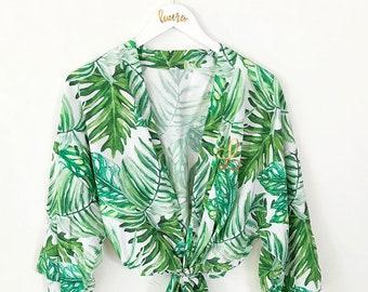 Tropical Bridesmaid Robes Set You Choose Qty - Beach Bridesmaid Robe - Beach Bride Gift Tropical Bridesmaid Gift (EB3267M)