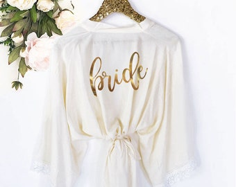 Bride Robe Lace Cotton Bride Gift Bride to Be Gift Wedding Day Robe Getting Ready Robes White Robe Lace Bridal Shower Gift (EB3184BPW)