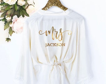 bride robe personalized bride robe cotton mrs robe mrs gifts bridal shower gift for bride getting ready robe eb3184mrs