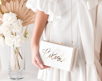 Personalised Clutch Bag Faux Leather Wedding Gift Bridesmaid Maid of Honour Hen
