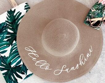 Hello Sunshine Hat Sun Hat Floppy Beach Hat Beach Bridesmaid Gift Beach  Accessories (EB3270P-TPE) 6df20cbd138