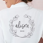 Bride Robe Personalized - Bride Robe Cotton Personalized Bride Robe Bride Gifts Bridal Shower Gift for Bride Getting Ready Robe (EB3184WRE)