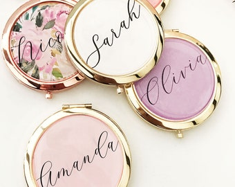 Bachelorette Party Favors -  Bachelorette Party Gifts - Bridesmaid Gifts - Mirror Compact Favors - Personalized Gifts for Women (EB3166AD)
