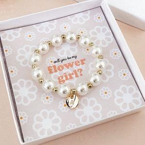 flower girl jewelry wedding gift Flower girl gifts flower girl bracelet flower girl gift hot pink flower girl pearl bracelet