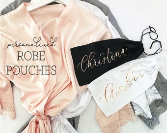 Personalized Bridesmaid Robe Pouches - Custom Bridesmaid Robe Bags - Bridesmaid Gift Bags - Bridesmaid Drawstring Bags Pouch (EB3295AD)